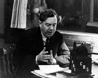 Huey Long addresses a national radio audience