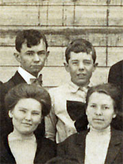Huey (top right) in his school's group photograph.