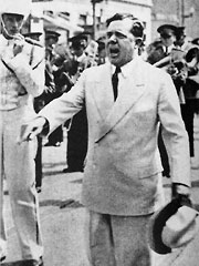 Huey Long leading the LSU marching band