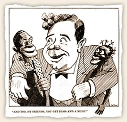 In a cartoon from a broadsheet sponsored by 'thousands of Louisiana white patriots', Huey Long is criticized for advancing programs that benefited African Americans.  The text of the broadsheet focuses on the dangers of abolishing the poll tax and refers to black voters as the 'mongrel vote'.