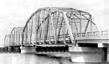 A typical modern steel bridge built by the Huey Long administration