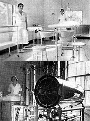 Huey Long modernized Louisiana's hospitals, with new treatment rooms and sterilizing equipment.