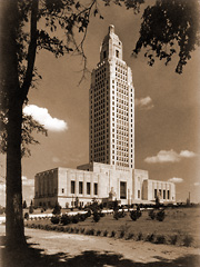 The Louisiana State Capitol, built by Huey Long's administration