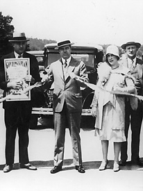 Huey Long and wife Rose at a ribbon cutting ceremony for a new public works project.