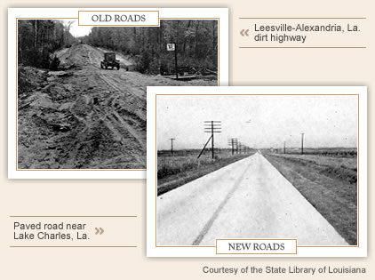 roads before and after Huey Long