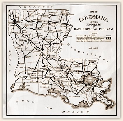 Map of road construction progress during Huey Long's administration